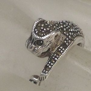 Jewelry - vintage STERLING SILVER MARCASITE PANTHER ring s7